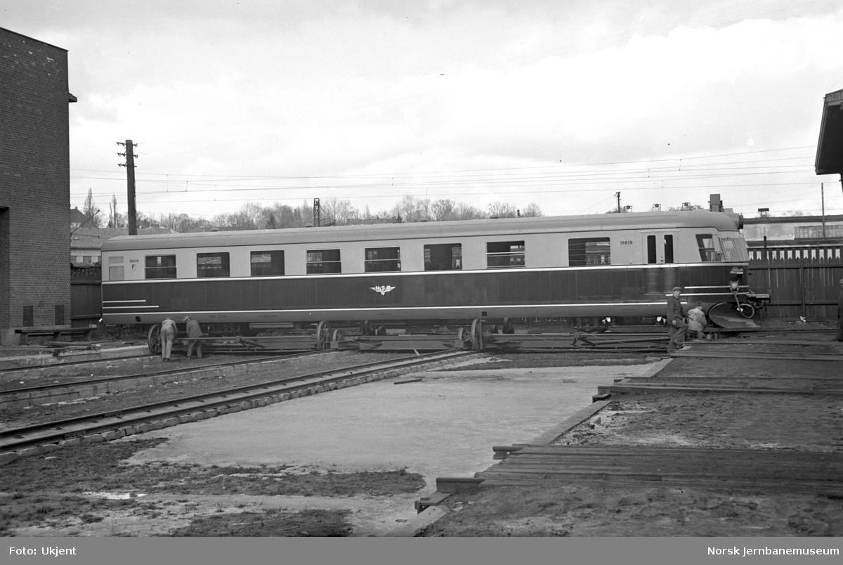 Styrevogn litra CFo3c nr. 18619 til elektrisk motorvognsett som ny på Skabo Jernbanevognfabrik