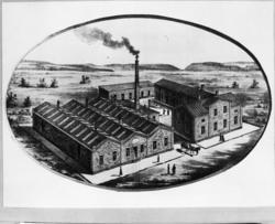 A. F. Carlssons Skofabrik, Vänersborg. Skärfling (fasad uttunning ...