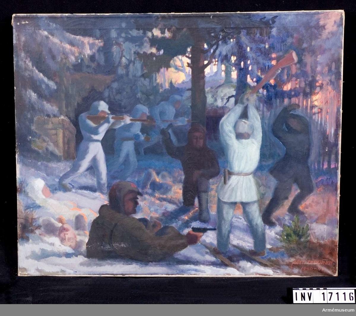 """Grupp M I. Oljemålning utförd av Matti Taskinen 1941 """"Närstrid i skog""""."""