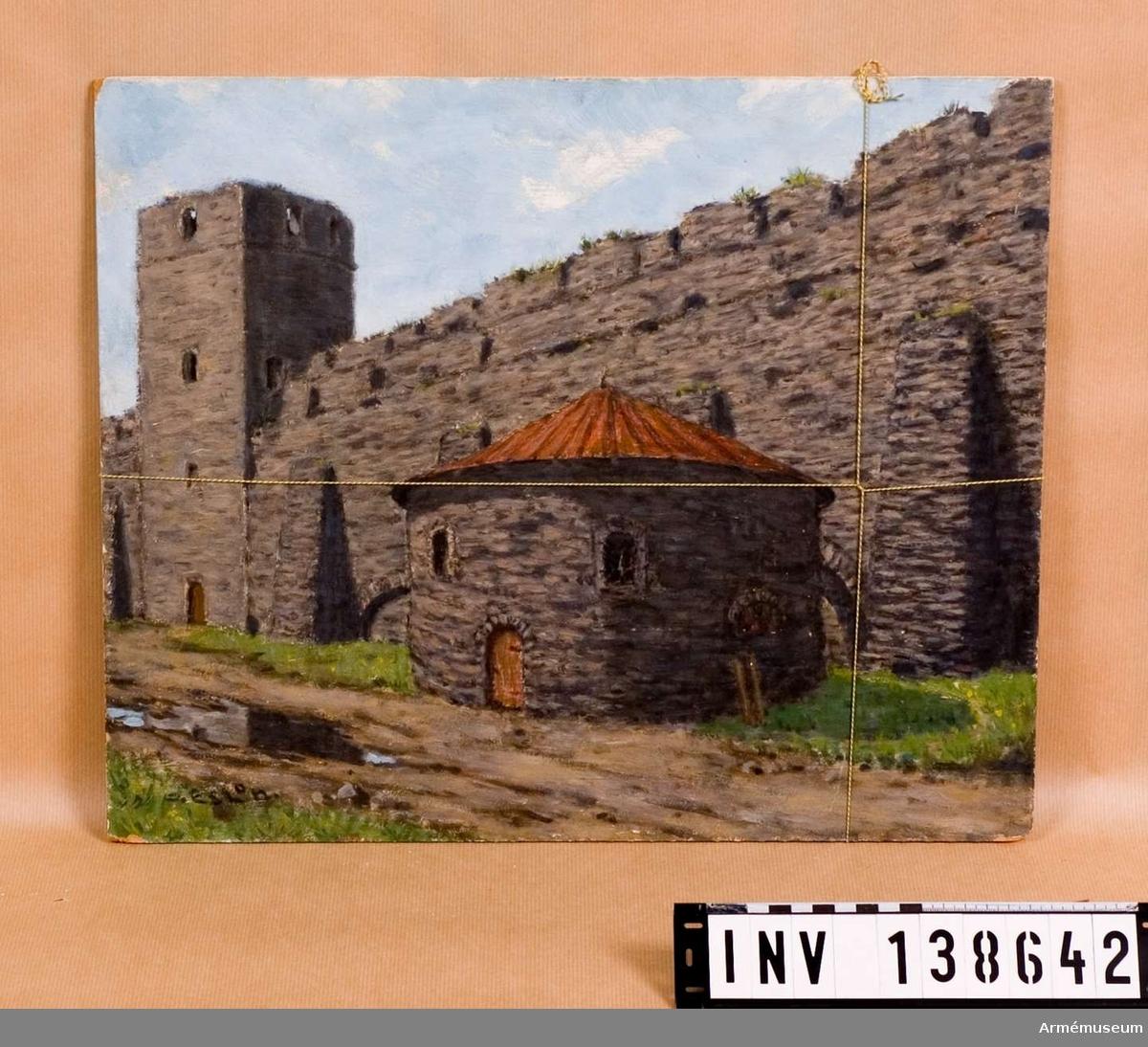 Oramad oljemålning föreställande fästningsmur med kruthus, av O. Eslon.