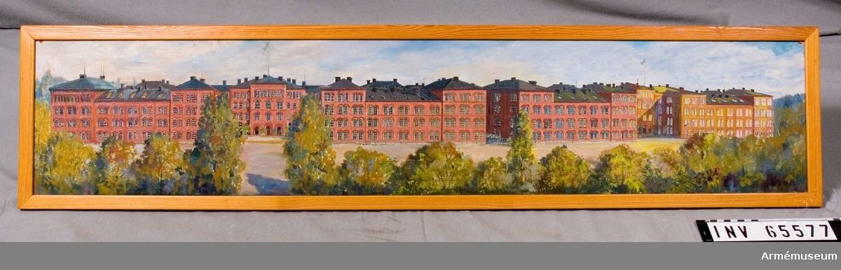 Grupp M I. Oljemålning från 1940-talet av Eslon, föreställande Svea och Göta livgarden kasernetablissement på Linnégatan.