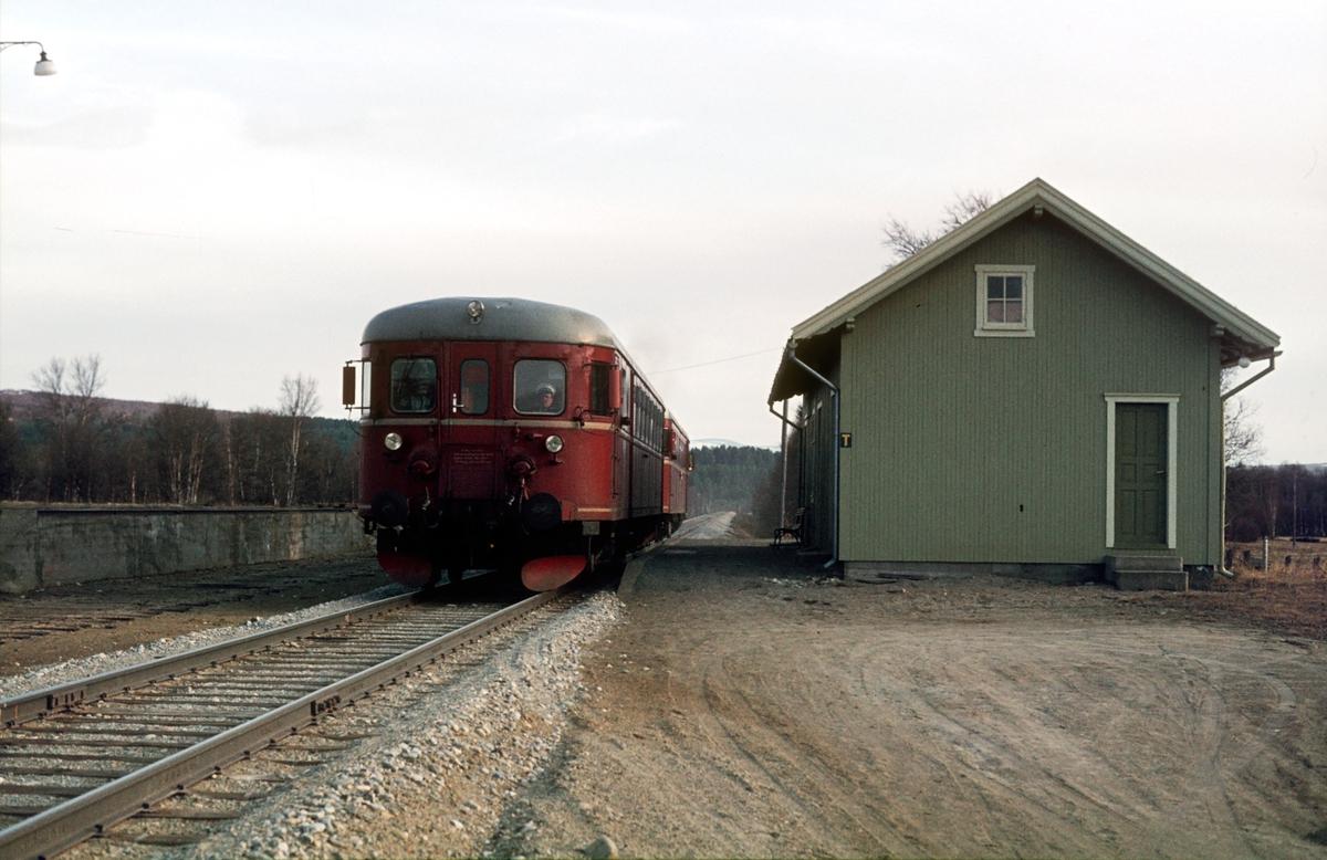 Persontog Røros - Trondheim stopper ved Orvos holdeplass, tidligere stoppested. Motorvognsett type 86.