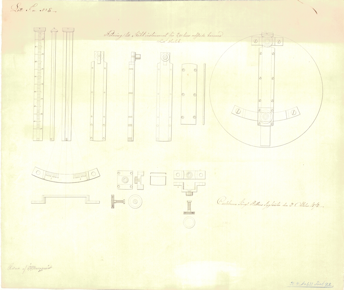Ritning till riktinstrument för 2,25 tums räfflade kanoner