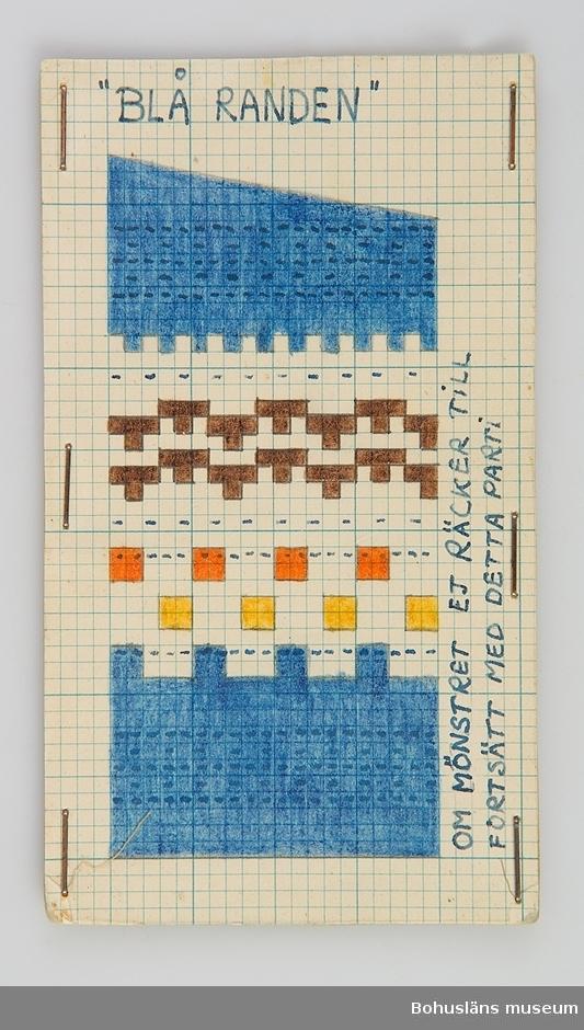 Avlång handtillverkad mönsterritning för mönstret Blå Randen av Anna-Lisa Mannheimer Lunn från Bohus Stickning. Mönstret är uppritat i bläck och färglagd med pastell- eller vaxkrita på blårutat millimeterpapper, uppklistrat på linneväv och därefter pappkartong. Mönstret skyddas av ett  styvt plastskikt fästat med häftklamrar. Stämplat BOHUS STICKNING på baksidan. Oklart hur detta mönster sammanhör med UM27869.