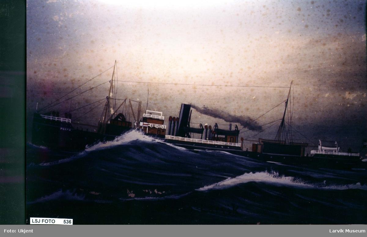 Fartøy, dampskip, hvalkokeriet  Perth av Larvik.