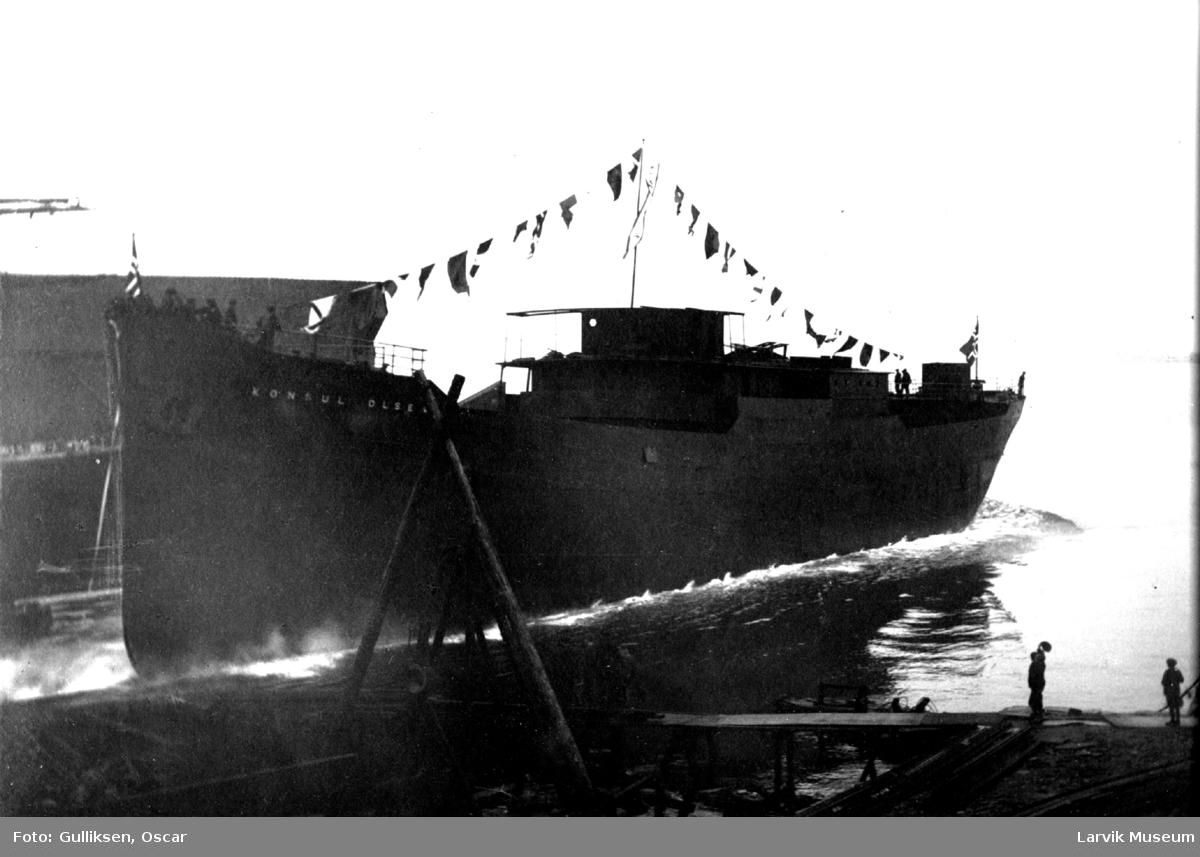 """fartøy, dampskip, d/s """"Konsul Olsen"""""""
