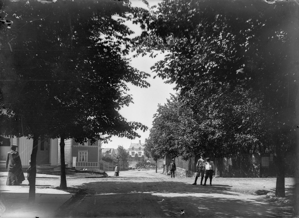 Oscars gate fra Byparken nordover. Trær. Flere personer på bilde. Hus i bakgrunnen.