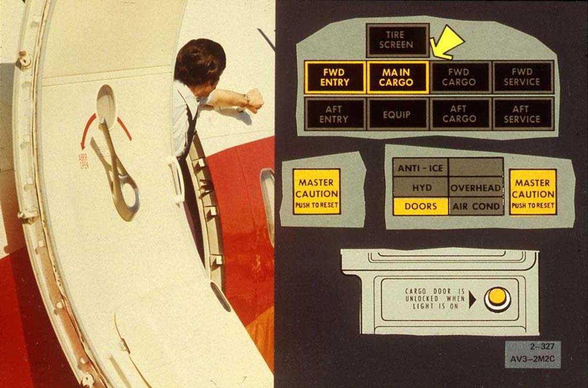 Tegning av instrumentpanel på et fly, Boeing 737-200. En person som står i døråpningen til flyet.