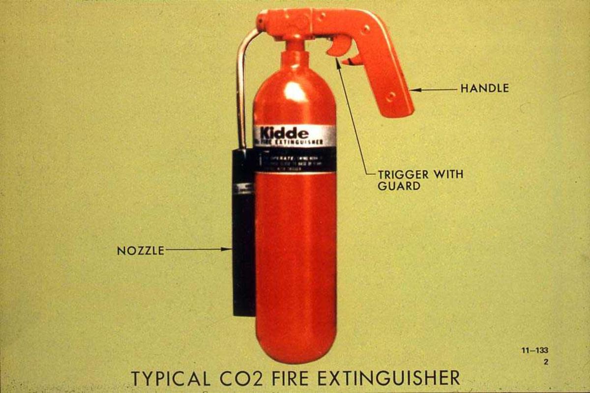 Brannslokningsapperat med CO2, for bruk i fly.