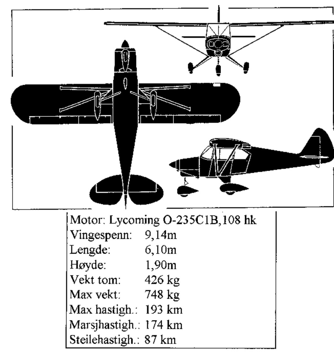 Treplanskisse, Piper PA-22 Colt.