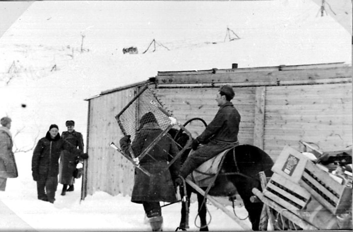 Portrett, 1 person i forgrunnen sitter på hesteryggen. Hesten trekker en slede lastet med utstyr. 4 andre personer sees også. Lita bygning bak. Tatt utendørs. Snø på bakken.