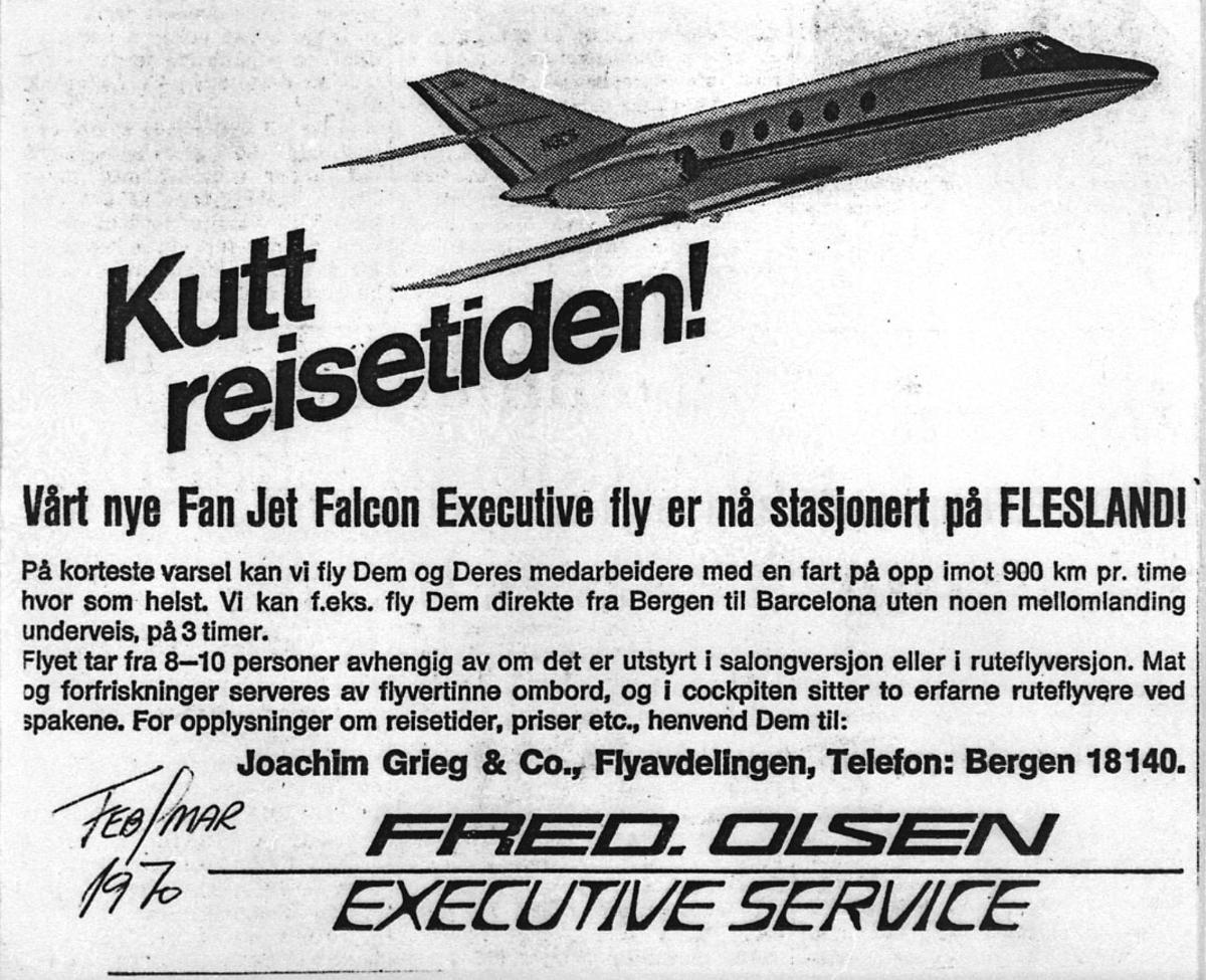 """Annonse, reklame for flyselskap med tittel """"Kutt Reisetiden"""""""