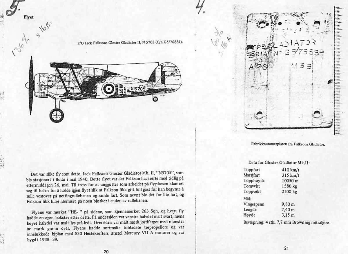 Modelltegning Gloster Gladiator og fabrikknummerplate fra Falksons Gladiator.