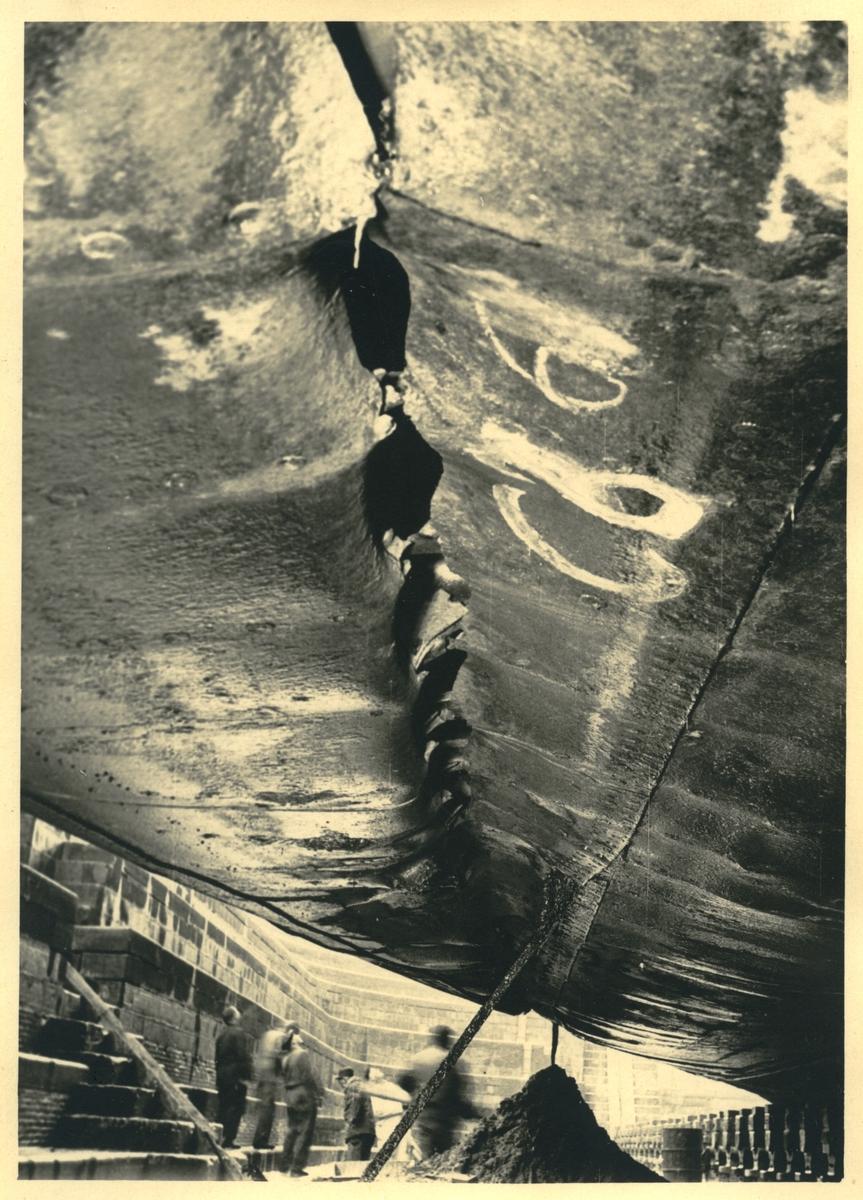 """Fartyg: ASTRI                          Bredd över allt 13,60 meter Längd över allt 98,28 meter Maskinstyrka 1740 ind hkr Reg. Nr.: 8190 Rederi: Rederi AB Disa Byggår: 1937 Varv: Lindholmens Verkstad Övrigt: Denna bild är en av flera i Fredrik Gustafssons samling (Fo220235 - Fo220340 samt Fo220340 - Fo220348) med anknytning till lastmotorfartyget ASTRIs haveri 27 oktober 1949, då fartyget (där Gustafsson var befälhavare) efter att ha lämnat Antwerpen stötte på ett sjunket vrak nära Zeebrügge. ASTRI bärgades och seglade ytterligare ett par år för Rederi AB Disa. År 1952 såldes fartyget och fick namnet PAN, 1957 FRIGG, 1961 MYLLE, 1969 MERCIA och 1974 ALKMINI A. Det höggs upp i Grekland 1984. Om ASTRIs haveri, se """"Bror Fredrik Gustafsson - Brodinskeppare"""", artikel av Bertil Hägerhäll i Båtologen 6-2011."""
