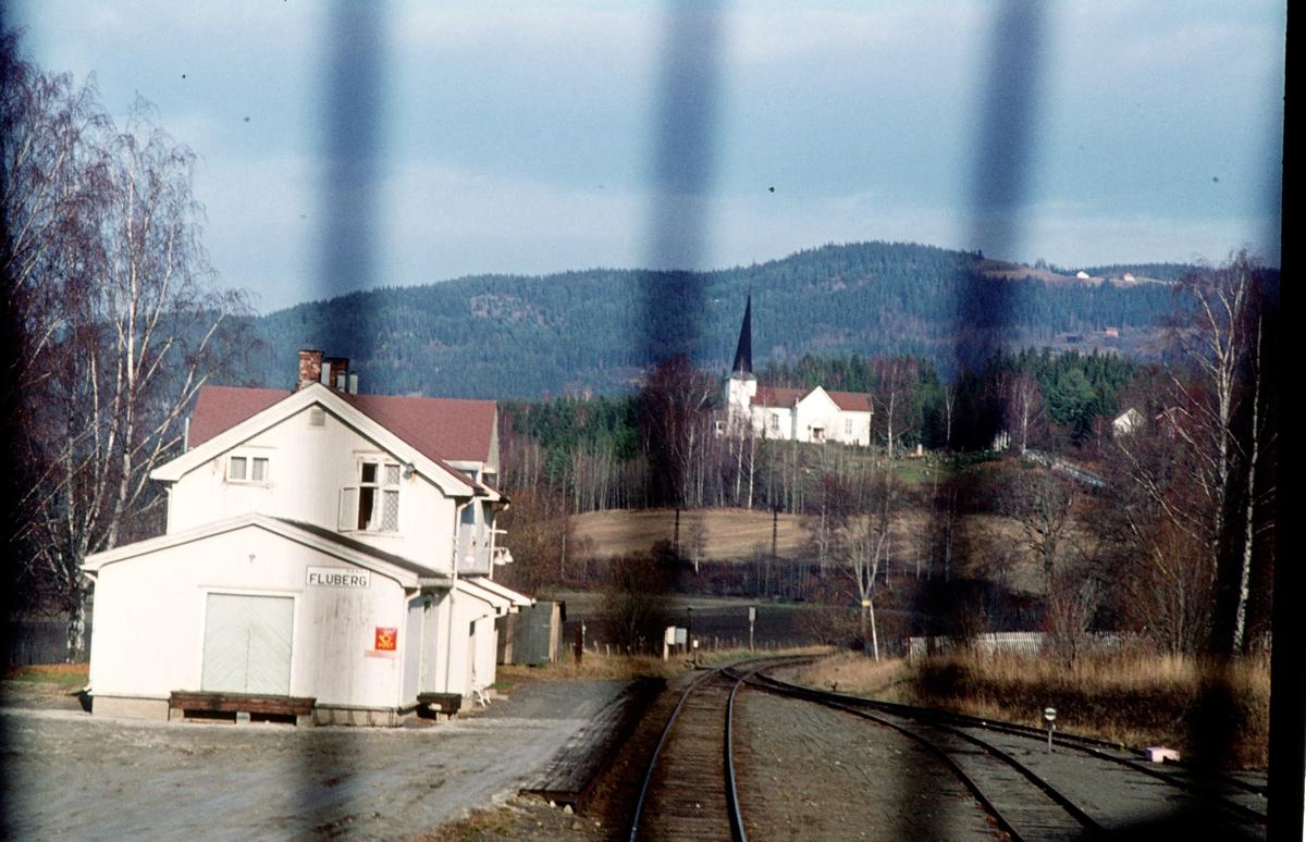 Fluberg stasjon sett fra lokomotivet i tog 281 (Oslo Ø - Fagernes).