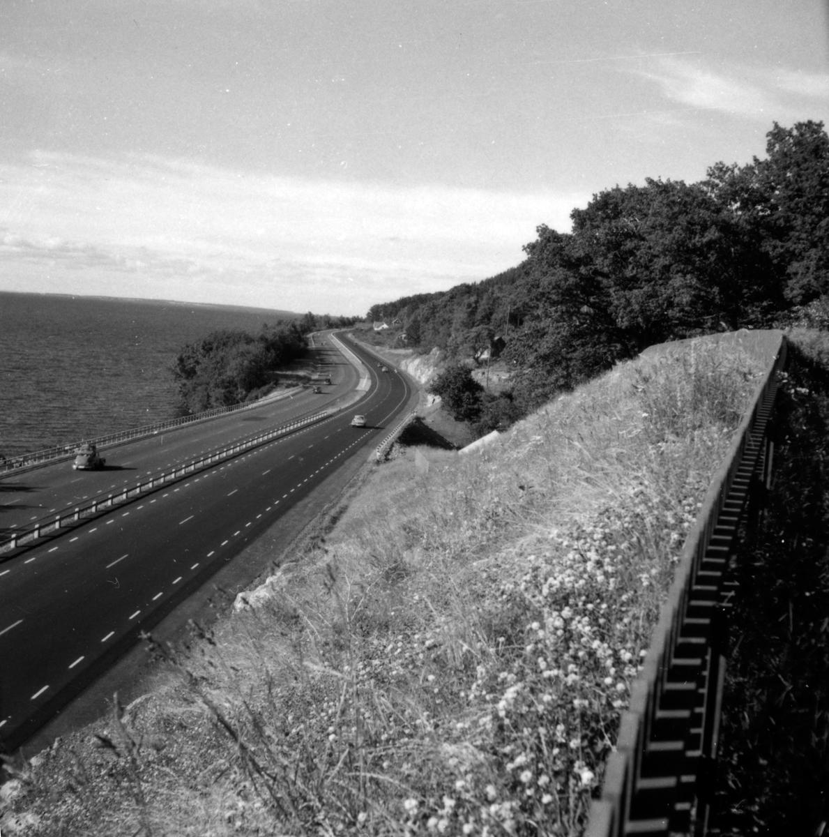 Motorvägen från Jönköping norrut, här vid Vista kulle. Den nya sträckningen var klar 1960.