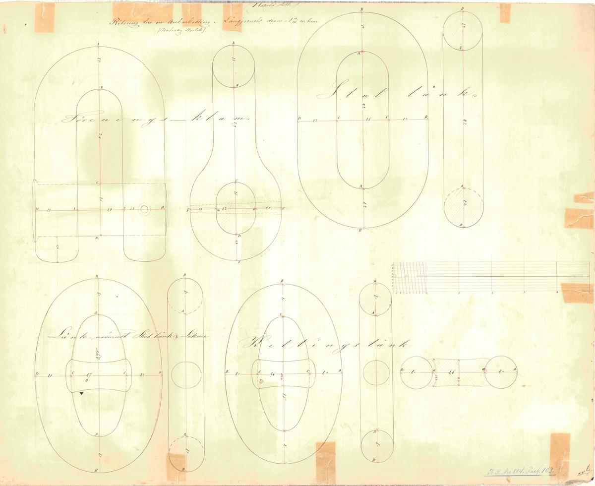Ritning till ankarkätting, föreningsklam, slutlänk, länk närmast slutlänk och lekare samt kättingslänk. På baksidan ritning av röringsklam.
