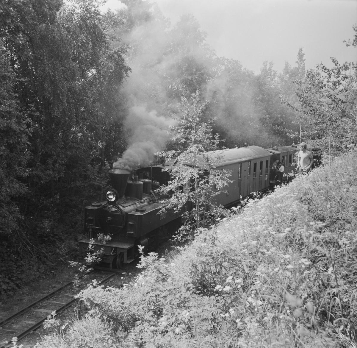 Museumsbanens åpningstog ved museumsbanens midlertidige endestasjon ved Fyen 19. juni 1966.