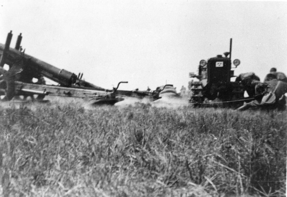 Haubits m/1939. 15 cm. A 6. Skjutning utanför Råå, Skåne.