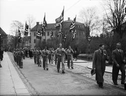 """""""Rättstanken grundtemat i 17 majtalen i Upsala"""", 1944"""
