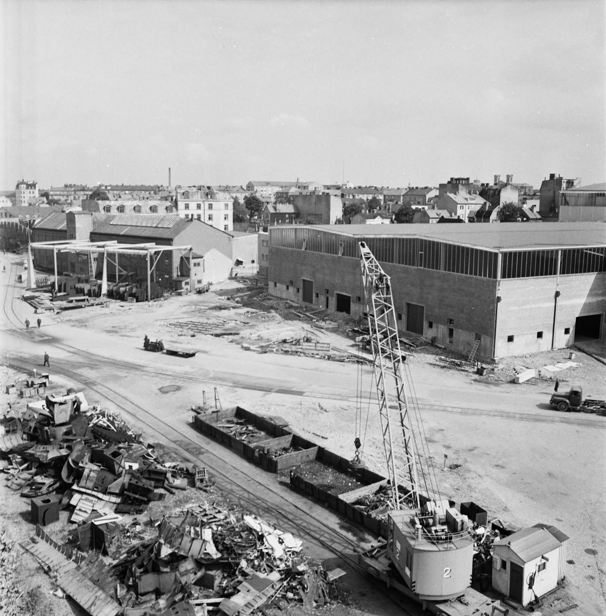 Övrigt: Fotodatum 23/8 1963 Byggnader och Kranar Nyb.området ext