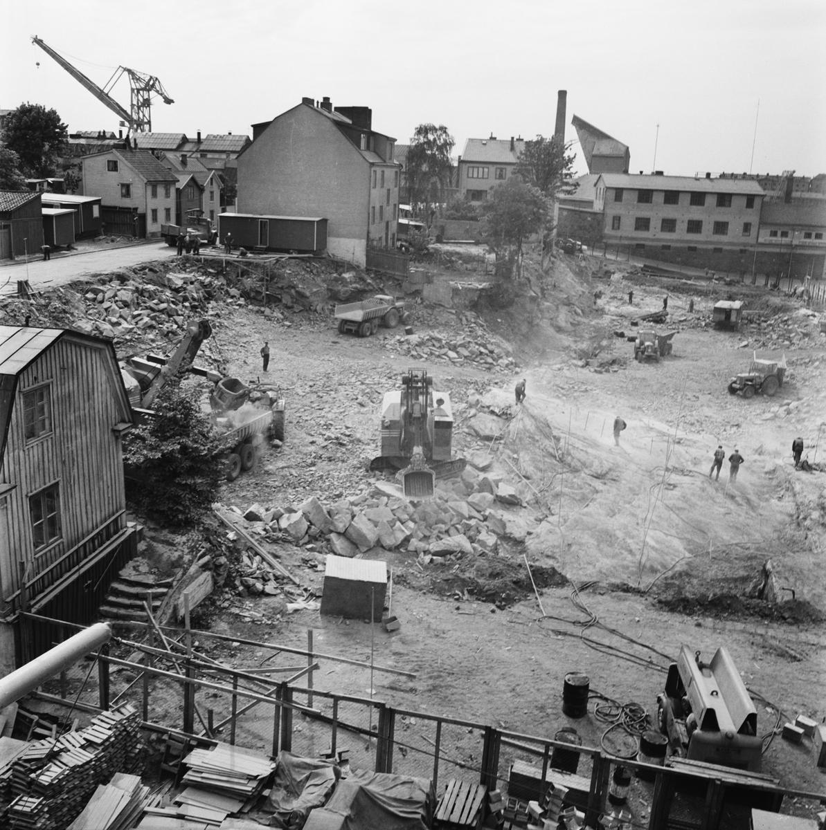 Övrigt: Foto datum: 11/6 1965 Byggnader och kranar Kvarteret pollux