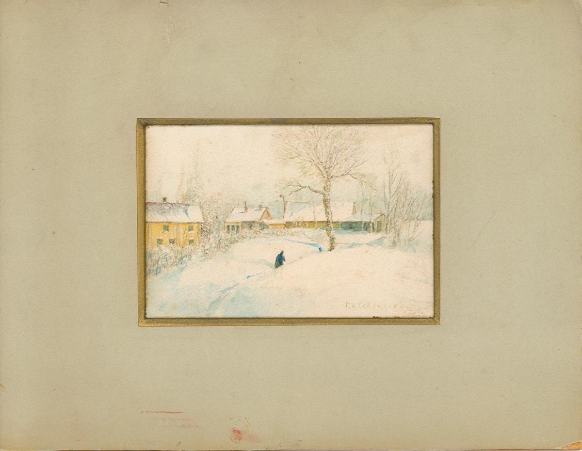 Flera gula hus i vinterlandskap. En människa går genom den djupa snön.