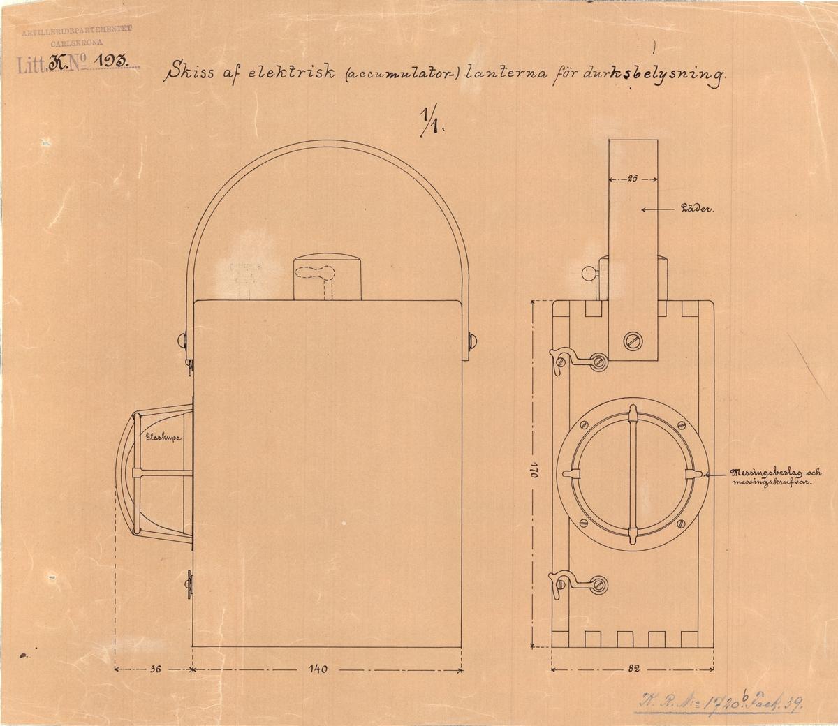 Skiss av elektrisk (accumulator-) lanterna för durksbelysning.