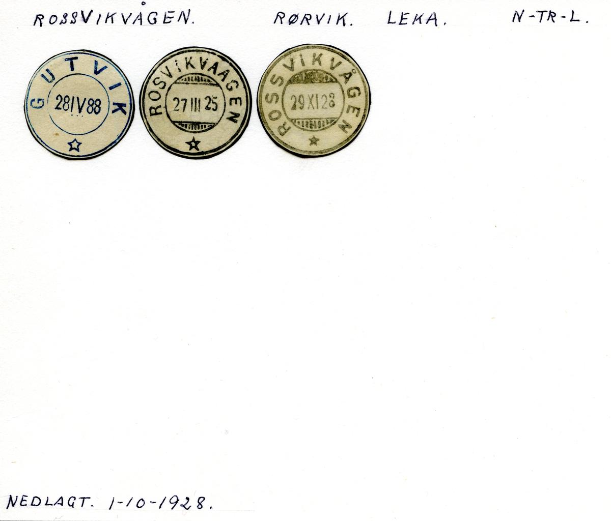 Stempelkatalog Rossvikvågen (Gutvik, Rosvikvaagen), Leka, Nord-Trøndelag