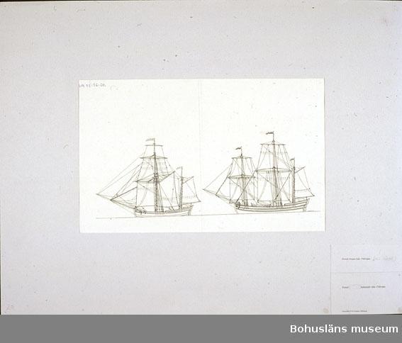 Montering/ram: Passepartout av tunn grå kartong; 55 x 66 cm, Svensk hukarejakt från 1760-talet. Svensk krejare från 1760-talet. Övrig historik se UM72.26.001.