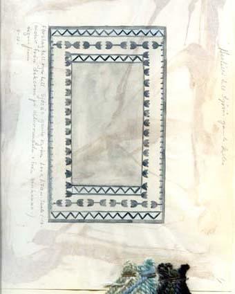 """Fem skisser med förslag till ryamattor till Sjösås gamla kyrka.GHKL 4032:1 """"Beställd till Sjösås gamla kyrka.""""Förslag till rya till Sjösås gamla kyrka 1,00 x 1,70 m. """"Motiv från dekoren på altarrundeln i från bänkarna, ingen frans"""".Skisstorlek ca 10 x 17 cm, skala 1:10GHKL 4032:2 Förslag till rya till Sjösås gamla kyrka 1,00 x 1,70 m. """"Motiv från krucifixet, färger samma som på nr 1"""".Skisstorlek ca 10 x 17 cm, skala 1:10GHKL 4032:3 Förslag till rya till Sjösås gamla kyrka 1,00 x 1,70 m. """"färger samma som på nr 1"""".Skisstorlek ca 10 x 17 cm, skala 1:10GHKL 4032:4Förslag till rya till Sjösås gamla kyrka 1,00 x 1,70 m. """"Motiv från en snidad kyrkbänk, färger samma som på nr 1"""".Skisstorlek ca 10 x 17 cm, skala 1:10GHKL 4032:5Förslag till rya till Sjösås gamla kyrka 1,00 x 1,70 m. """"Motiv från dekor på kyrkbänkarna"""".Skisstorlek ca 10 x 17 cm, skala 1:10BAKGRUNDHemslöjden i Kronobergs län är en ideell förening bildad 1990. Den ideella föreningen ersatte Kronobergs läns hemslöjdsförening bildad 1915.Kronobergs läns hemslöjdsförening hade butiksverksamhet och en vävateljé med anställda väverskor och formgivare där man vävde på beställning till offentliga miljöer, privatpersoner och till olika utställningar.Hemslöjden i Kronobergs län har idag ett arkiv med drygt 3000 föremål, mönster och skisser från verksamheten och från länet. 1950-talet var de stora beställningarnas tid och många skisser och mattor till kyrkorna kom till under detta årtionde."""