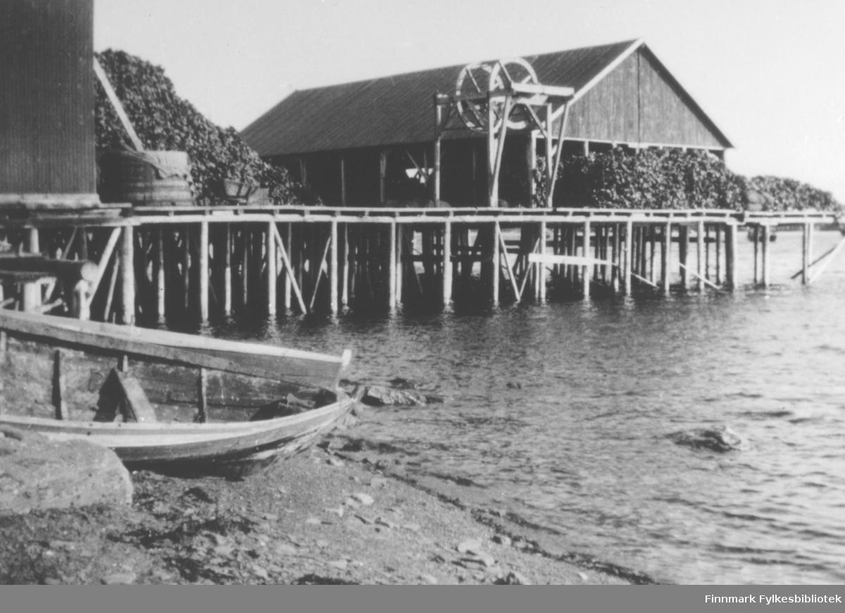 Konsul H.F. Esbensen's guanofabrikk ved Prestelv, Vadsø. På bildet sees brygge med pakkhus vinsje, leverfat, fiskehoder. Ved brygga to robåter.