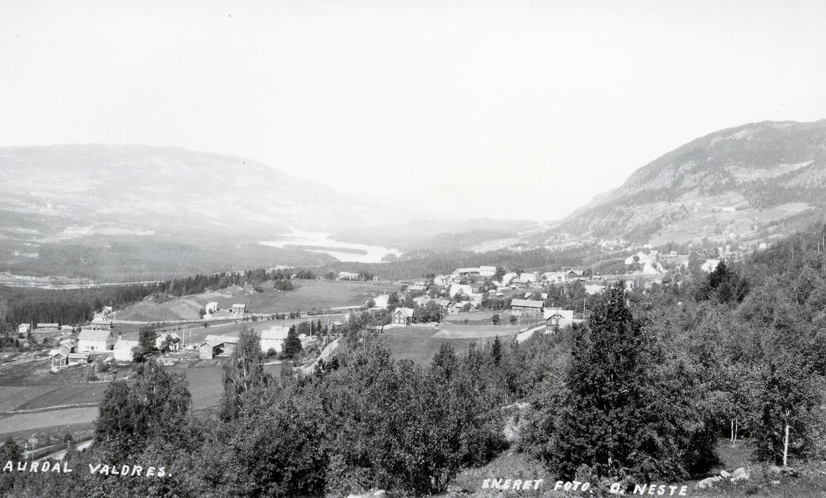 Oversiktsbilde over Aurdalsbyen, mot nord