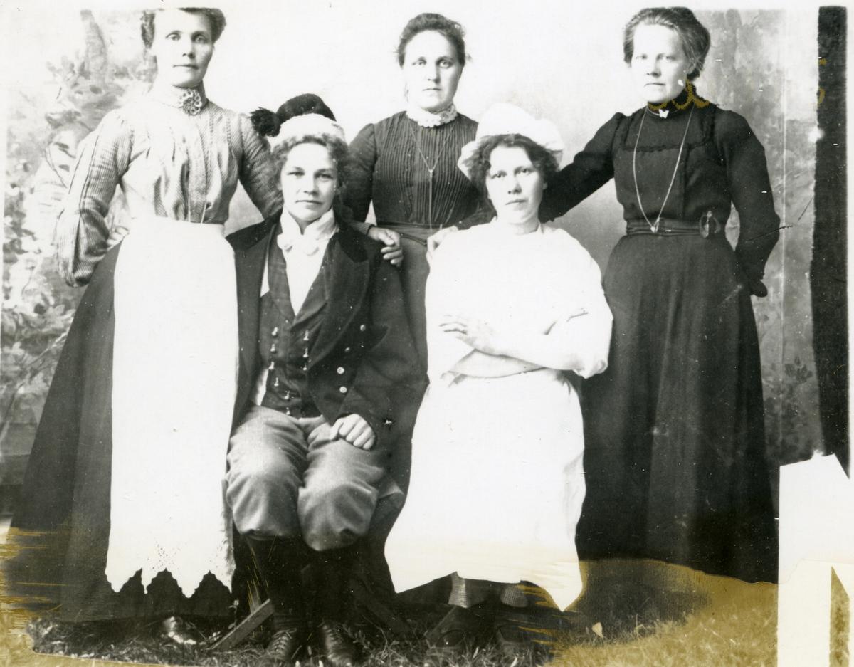 Fem kvinner, ei av dei kledd i mannsklede. Arbeidsfolk ved hotell