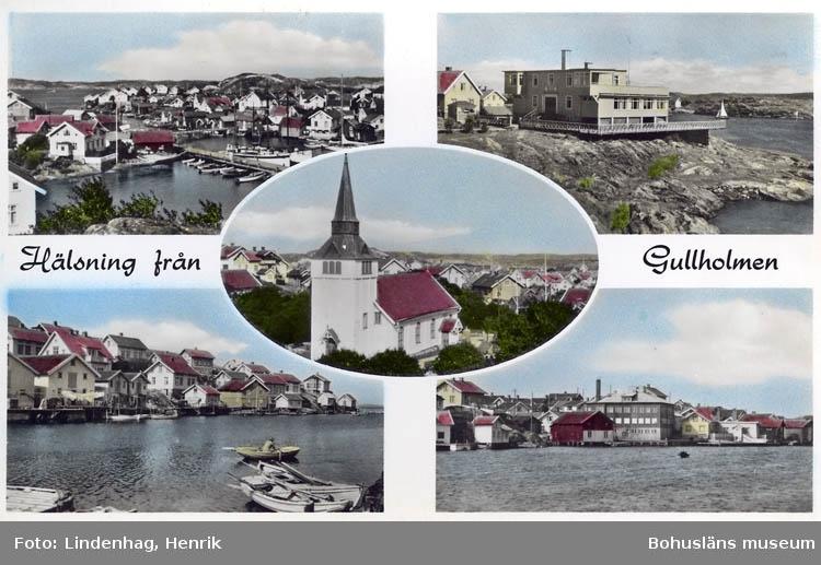 """Text på kortet: """"Hälsning från Gullholmen""""."""