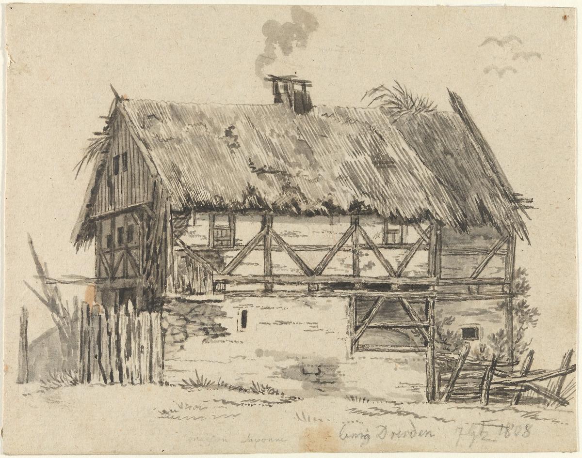 Hus med stråtak [Tegning]