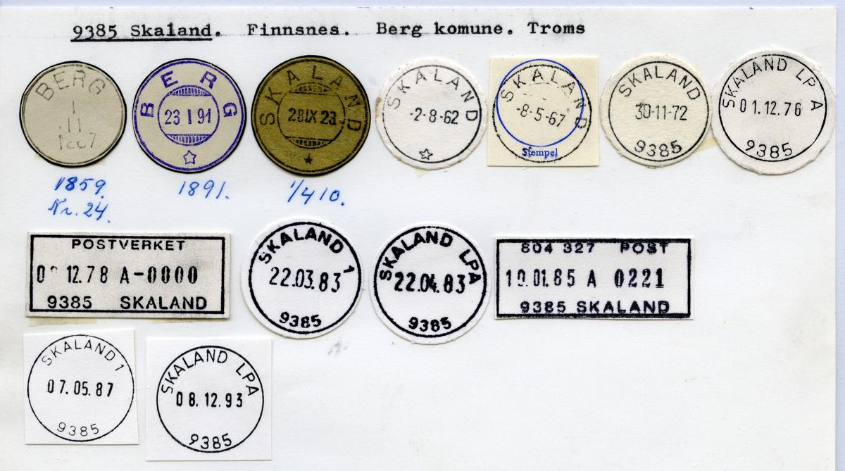 Stempelkatalog  9385 Skaland, Berg kommune, Troms (Berg)