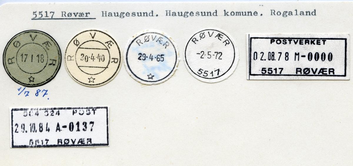 Stempelkatalog 5517 Røvær, Haugesund, Rogaland