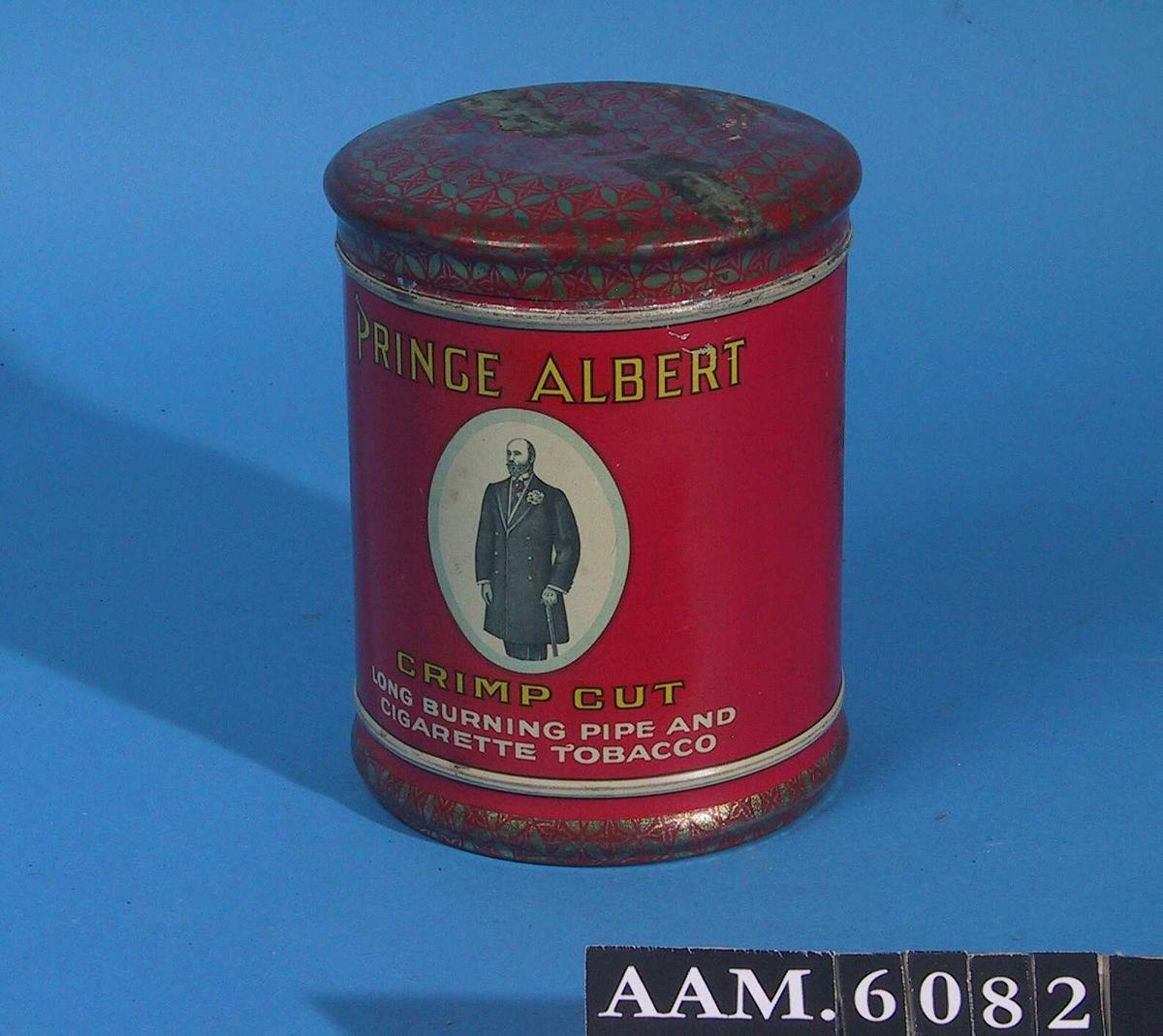 Rød- og gullmønstret/ stående prins Albert, i frakk, knestykke.