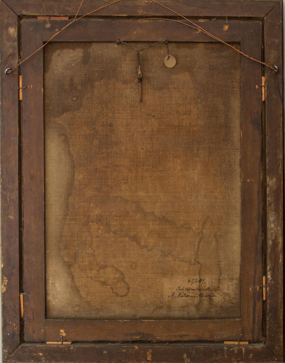 Bröstbild av präst med prästkrage och elvor och vit peruk. Mörk bakgrund.