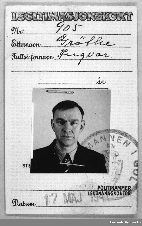 Legitimasjonskort Nr. 905. Grøthe, Ingvar. 17. mai 1941