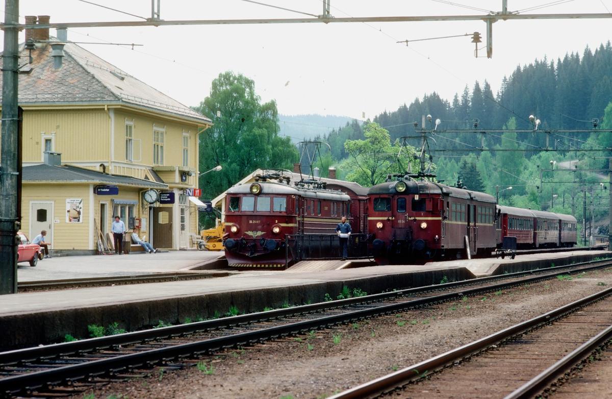 Roa stasjon. Persontog 281 til Fagernes og Gjøvik i spor 1, og persontog til Hønefoss i spor 2 (Populært kalt Kalvsjøblakken).