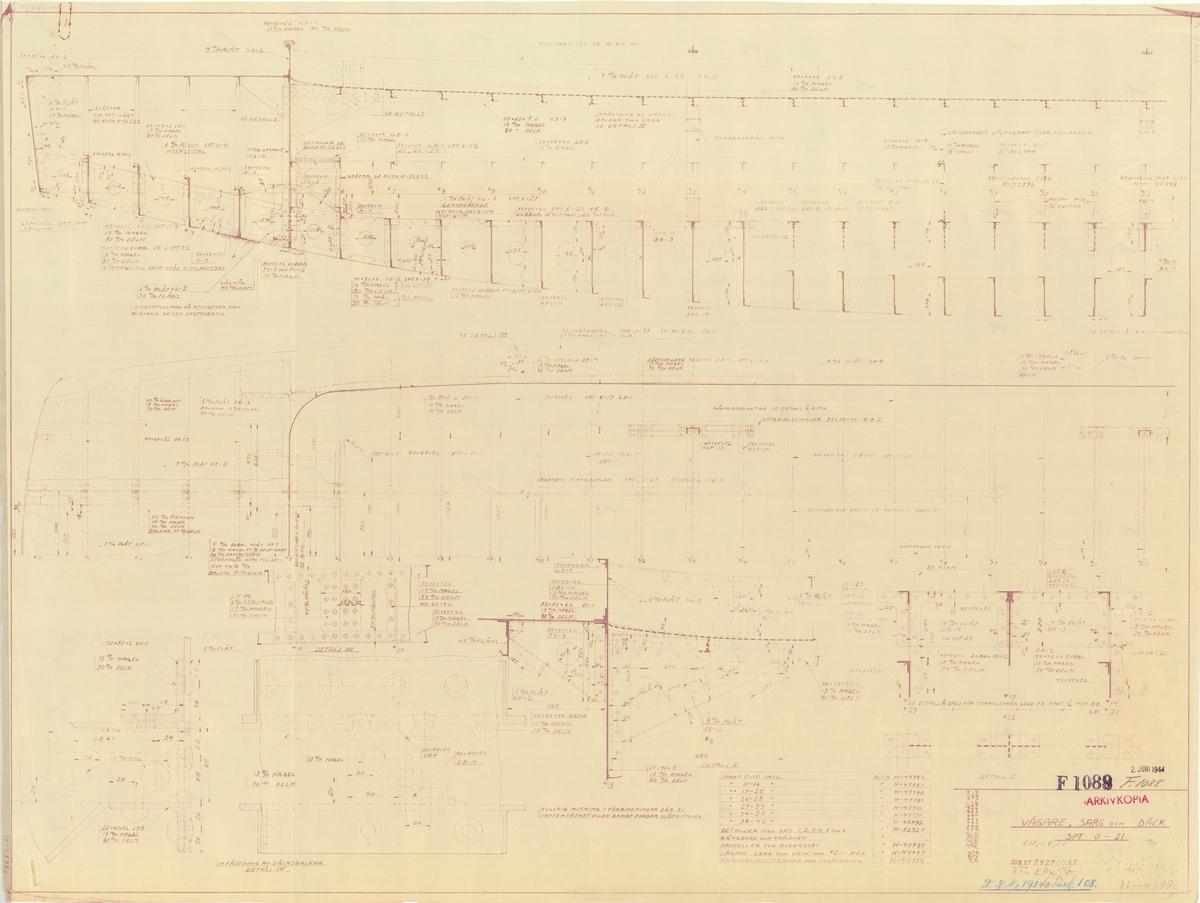 2 detaljritningar å vägare, maskinbädd, sarg och däck för motorbåt för transport av 53 cm torpeder