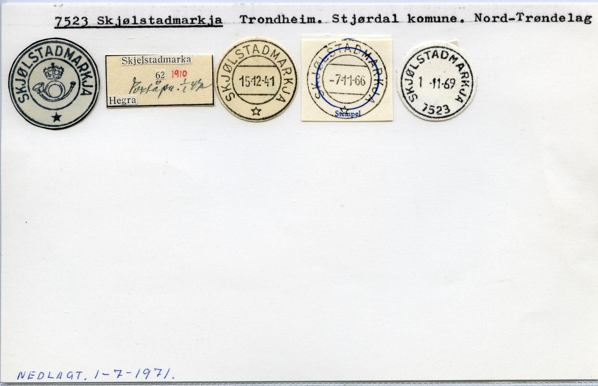 Stempelkatalog  7523 Skjølstadmarkja, Stjørdal, N-Trøndelag