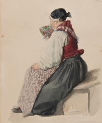 """""""Kvinna i kyrkodrägt, Ljusdahl 1840"""". Akvarell av J.W Wallan"""