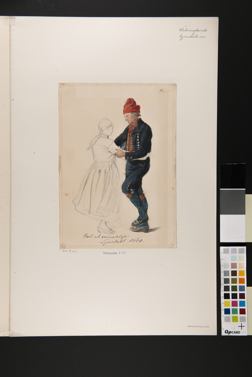 """""""Karl och qvinnodrägt, Ljusdahl 1840"""" Blyerstskissad kivnna och akvarellerad man som dansar. Akvarell av J.W Wallander."""