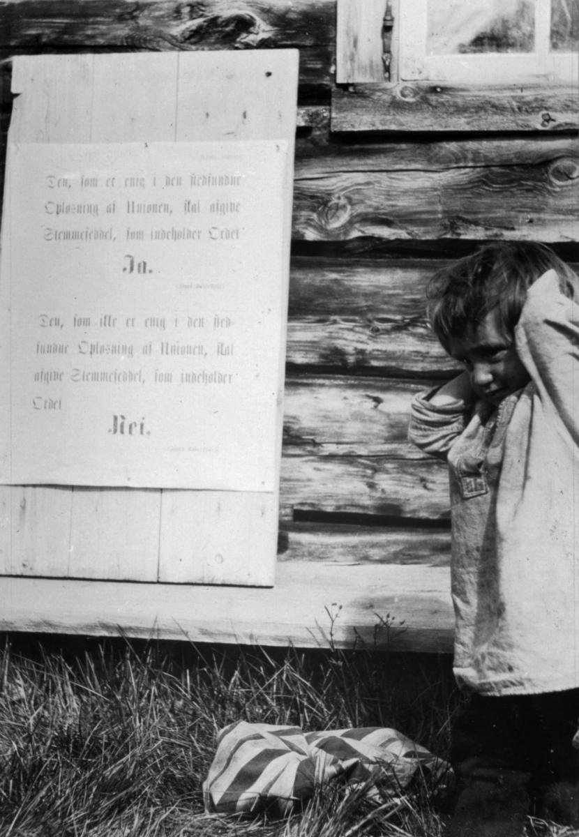 En liten samisk gutt fotografert ved siden av oppslag om folkeavstemningen om unionsoppløsningen i 1905