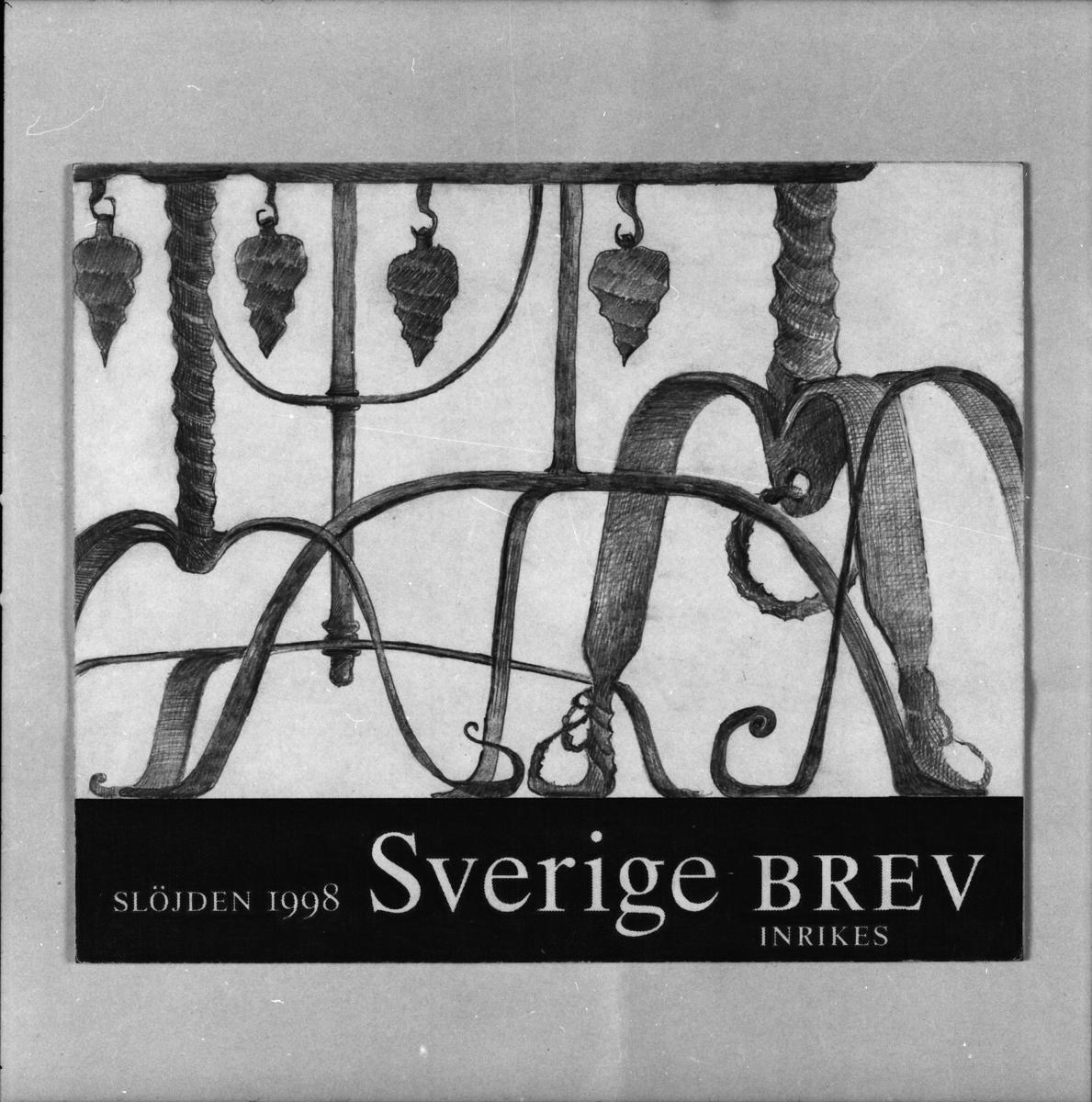 Originalteckning till frimärket Hemslöjd 98, Smidd Järnljusstake.