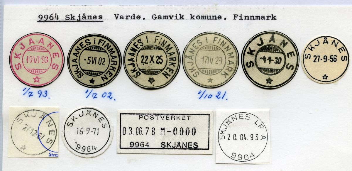 Stempelkatalog  9964 Skjånes, Gamvik kommune, Finnmark