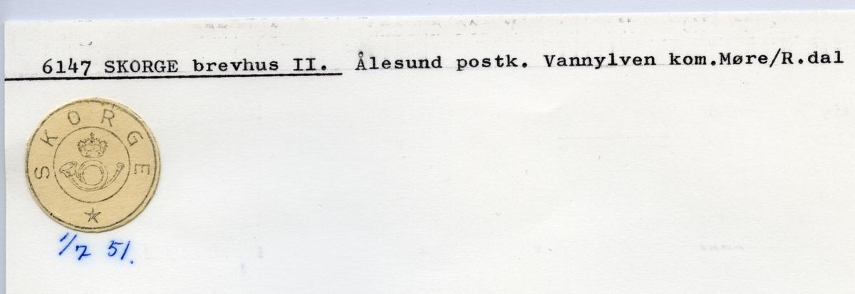Stempelkatalog  6147 Skorge, Vanylven kommune, Møre og Romsdal